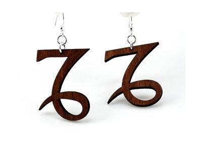 brown capricorn wood earrings