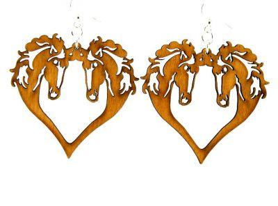 Cinnamon Horse Heart Wood Earrings