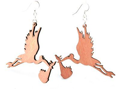 Pink stork wood earrings