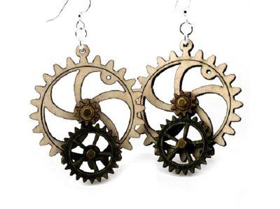 kinetic gear wood earring