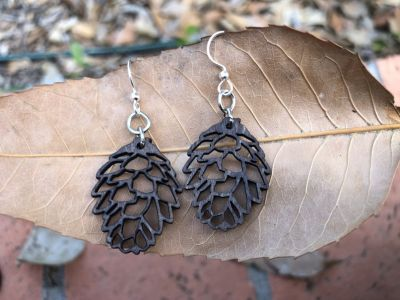 brown pine cone wood  earrings