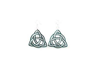teal trinity knot wood earrings
