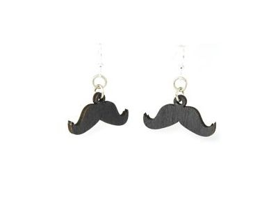 mustache wood earrings