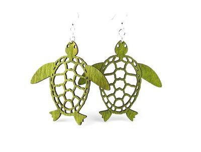 green sea turtle wood earrings