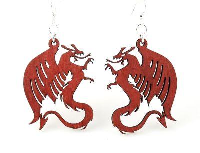 Cherry Red Dragon Wood Earrings