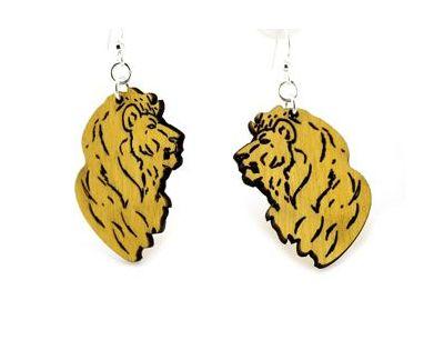 detailed lion wood earrings