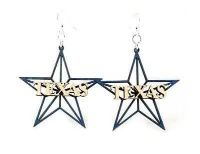 Texas star wood earrings