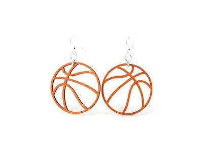 basketball wood earrings