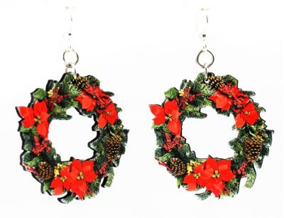 large christmas wreath wood earrings