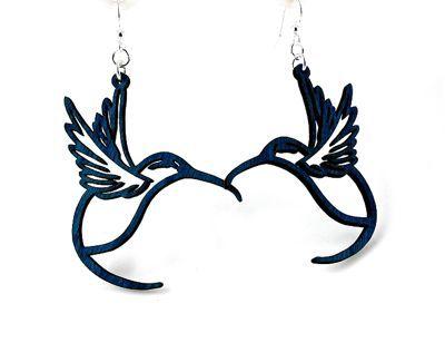 Royal Blue Hummingbird wood earrings