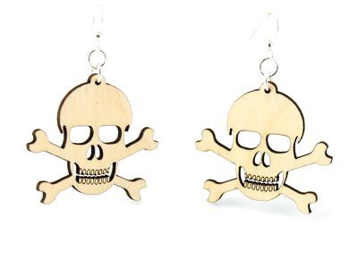 Natural wood skull and crossbone earrings