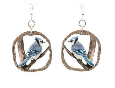 blue jay wood earrings