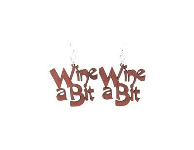 Wine a bit wood earrings