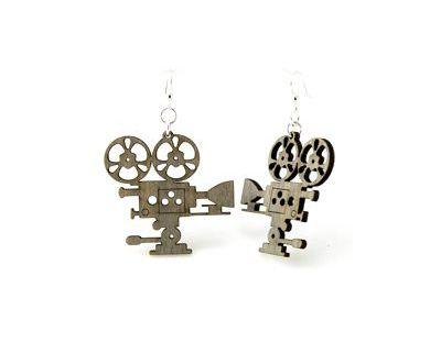 Gray movie camera wood earrings