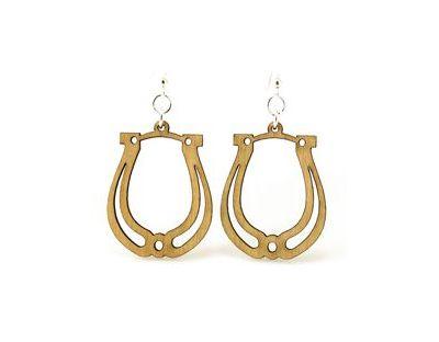 Tan Horse Shoe wood earrings