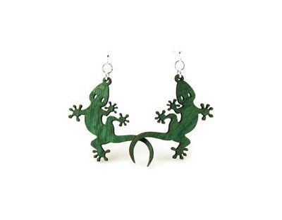 Green gecko wood earrings