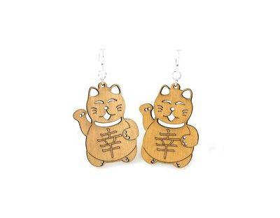 tan lucky cat wood earrings