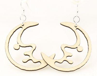 natural wood moon earrings