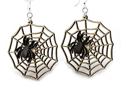 spider web wood earrings