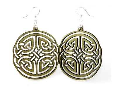 green irish design wood earrings