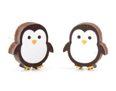 Penguin stud wood earrings