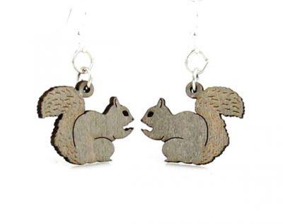Gray squirrel wood earrings