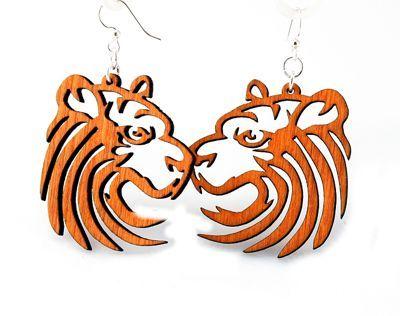 Tangerine Tiger Wood Earrings