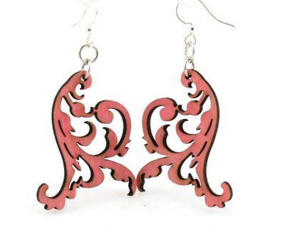 cherry red swaying vine wood earrings