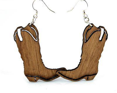 cowboy boot wood earrings