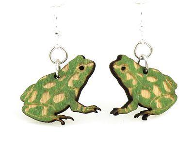Green Frog Wood Earrings