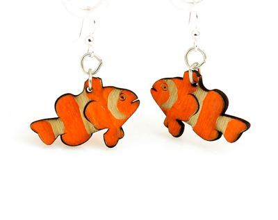 clown fish wood earrings