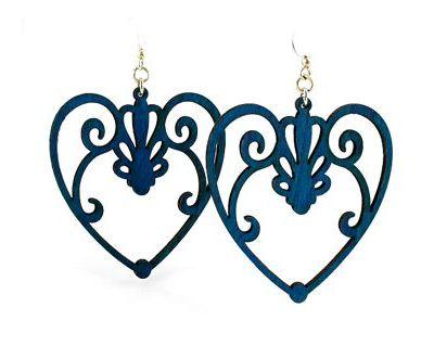royal blue scroll heart wood earrings