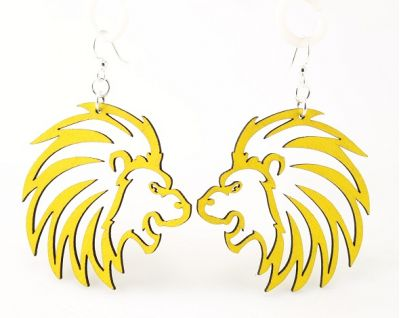 Lemon Yellow Lion Wood Earrings