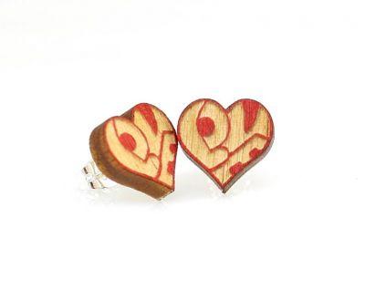 love heart stud wood earrings