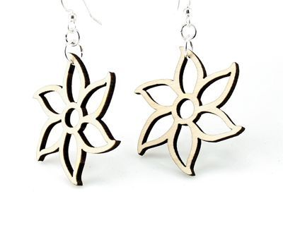 natural wood forest flower wood earrings