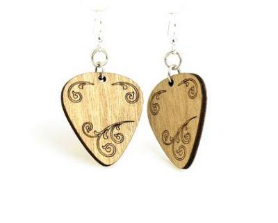 tan guitar pick wood earrings