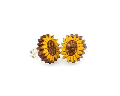 sunflower stud wood earrings
