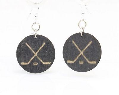 hockey puck wood earrings