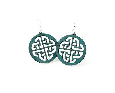 Teal celtic sign wood earrings