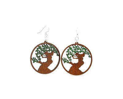 Bonsai tree wood earrings