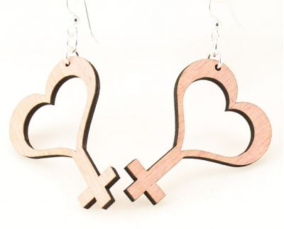 pink female symbol wood earrings