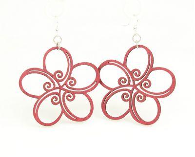 wine geo flower wood earrings