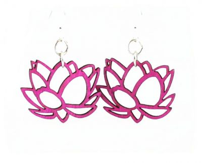 Lotus Blossom Wood Earrings