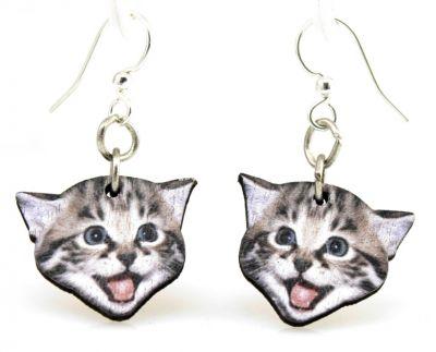 playful kitten wood earrings