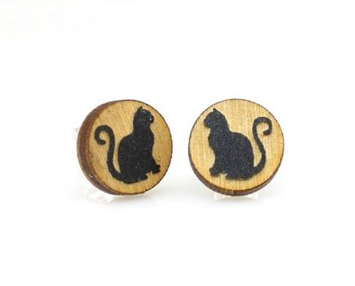 Cat stud wood earrings