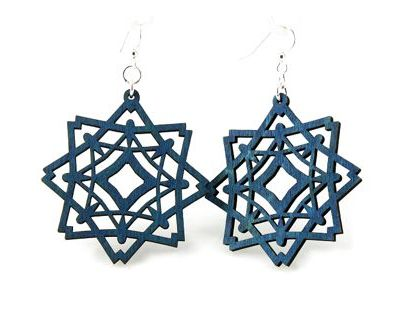 Royal blue diamond snowflake wood earring