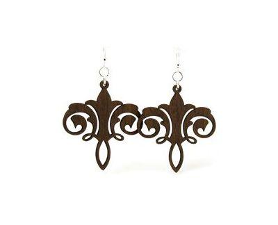 Brown Chandelier wood earrings