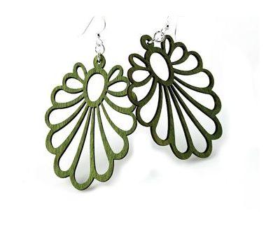 green large flower wood earrings