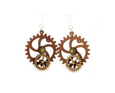 kinetic gear wood earrings