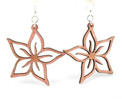 Pink Plumeria Wood Earrings